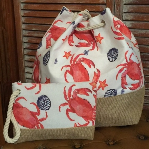 Vintage Country Couture Handbags - Beach Travel Bag Set - Set of 2 Crab Beach Bags